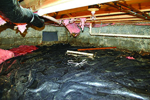Improving performance & appearance. A vented crawl space (above) often has falling fiberglass insulation and moisture problems.