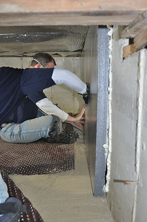 A smarter insulating strategy. Installed against crawl space walls, rigid foam insulation won't degrade or fall out of place.