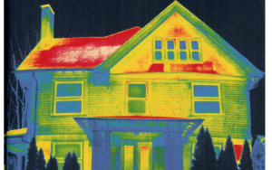 Thermal image of home showing variations in temperature and where energy waste is occuring.